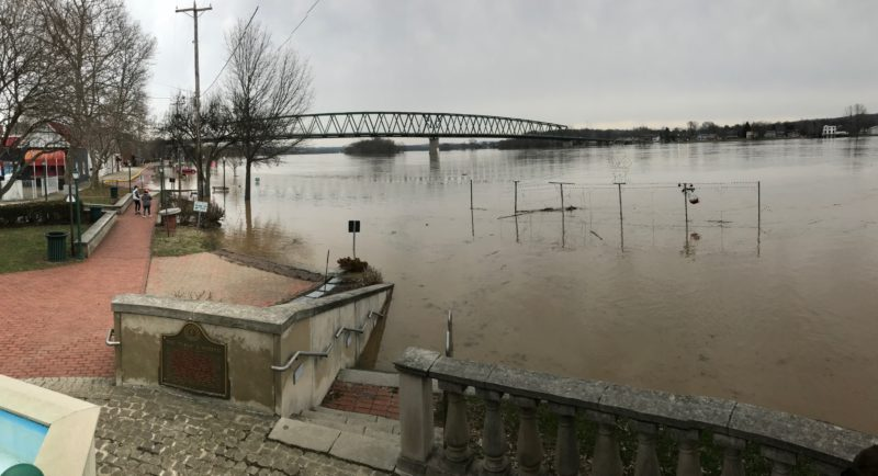 The Ohio River Levee under water. Photo by Janelle Patterson