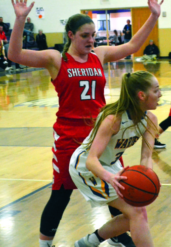 MIKE MORRISON The Marietta Times Warren's Molly McCutcheon looks to pass as Sheridan's Kendyl Mick (21) defends during Saturday's Division II sectional final girls basketball game at Jim Myers Gymnasium in Logan. Sheridan won, 49-38.