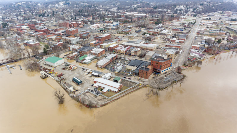 Photo provided by Nathan Reich This image taken from a drone shows the confluence of the Ohio and Muskingum rivers in Marietta. The National Weather Service river level Sunday evening was 37.35 ft, below the expected crest of 40.1 ft.