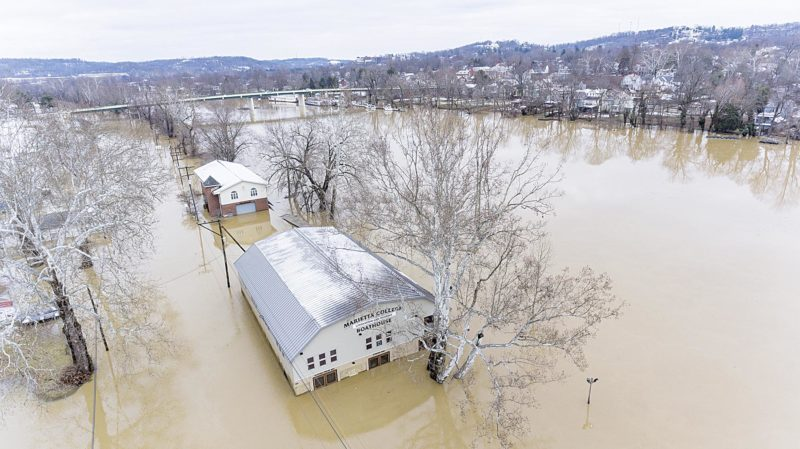 Photo courtesy of Nathan Reich This photo shows the Marietta College and Marietta High School crew boathouses under water on Gilman Ave.