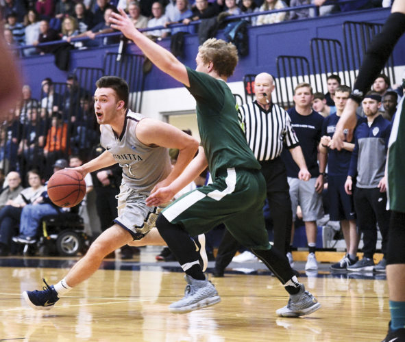 File photo  Marietta College's Dillon Young drives past an opponent during a regular-season Ohio Athletic Conference game. Young and the rest of the Pioneer men open OAC Tournament play following the women's contest today at Ban Johnson Arena.