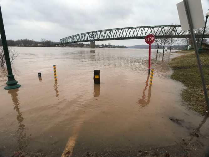 JANELLE PATTERSON   The Marietta Times Friday as the Ohio River rose the River Trail was underwater by noon in many places.  The Ohio River crested at 37.92 feet on Sunday. More high waters could be in store this weekend.