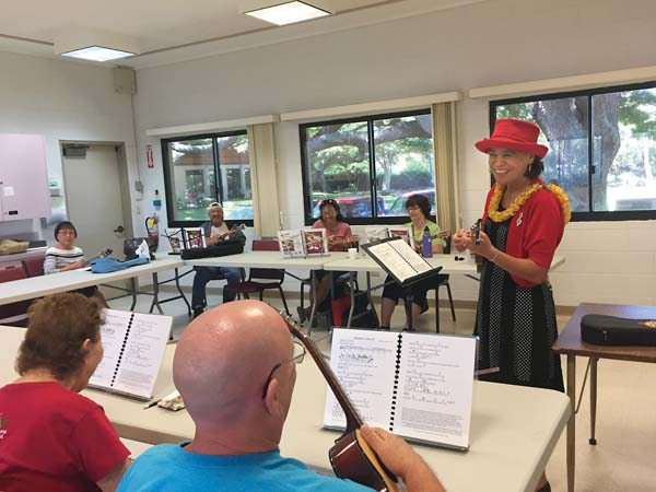 "Mele Fong teaches beginning, intermediate and advanced ukulele classes for students ""55 and better"" at the Kaunoa Senior Center in Spreckelsville. She also leads ukulele-strumming workshops and teaches private lessons for adults and children at Hale Ho'ike'ike, formerly the Bailey House Museum in Wailuku."