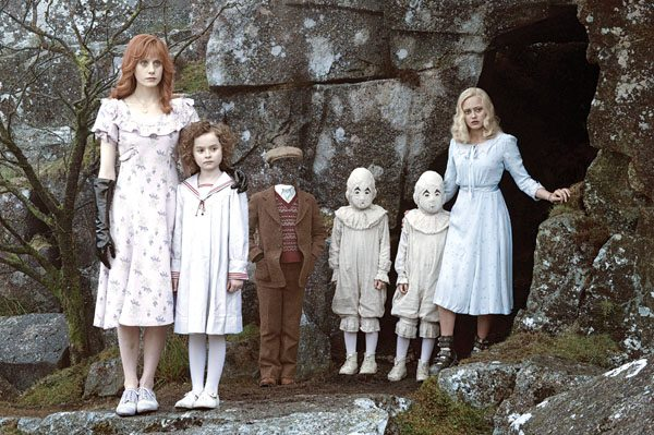 "Lauren McCrostie (from left), Pixie Davies, Cameron King, Thomas and Joseph Odwell and Ella Purnell star in ""Miss Peregrine's Home for Peculiar Children.""  20th Century Foxphoto via AP"