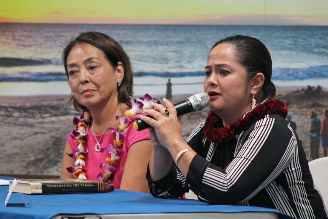 Napua Greig-Nakasone (right) and Yuki Lei Sugimura, candidates for the Upcountry council residency seat, answer community-submitted questions during their panel.  The Maui News / COLLEEN UECHI photo