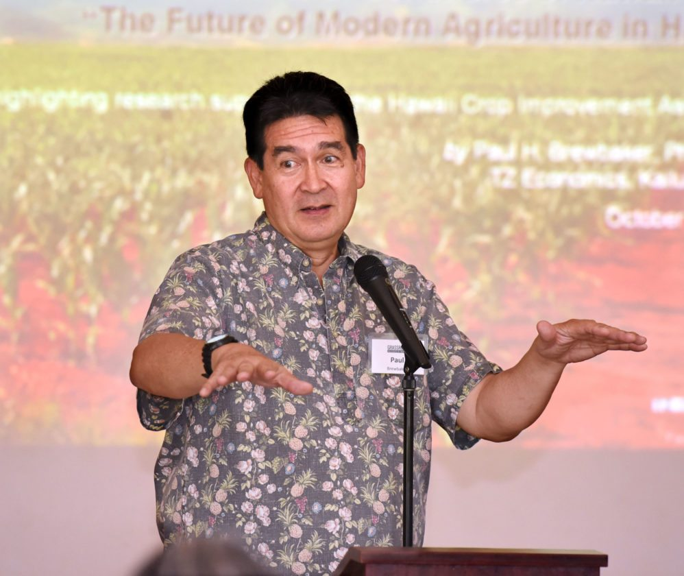 Paul Brewbaker questioned the purpose of Gov. David Ige's initiative to double the state's food production by 2030. He has no problem with people growing more food, but argued against using tax dollars for high-risk agricultural ventures. The Maui News / MATTHEW THAYER photo
