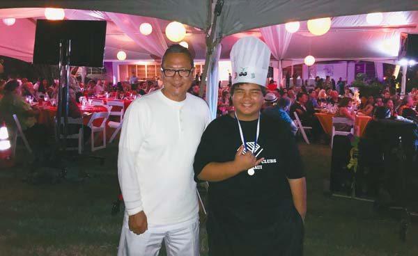"""Big Chef Masaharu Morimoto and Little Chef Jeremiah """"JJ"""" Valeroso. KRISTIN JACKSON photo"""