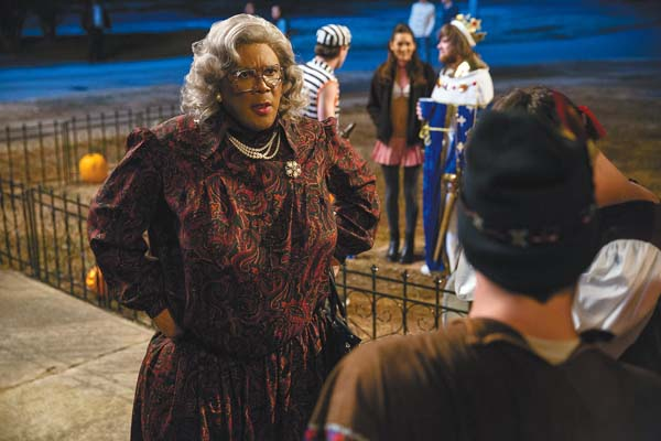 """Tyler Perry portrays Madea in a scene from """"Boo! A Madea Halloween."""" Lionsgate photo via AP"""