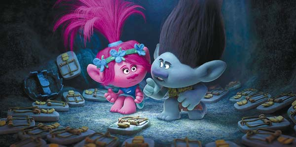 """The voices of Anna Kendrick and Justin Timberlake are featured in DreamWorks' """"Trolls."""" DreamWorks photo via AP"""