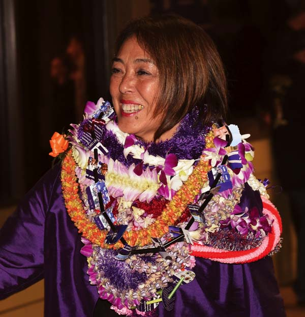 Maui County Council candidate Yuki Lei Sugimura waits for final election results outside the Akaku Maui Community Media studios in Kahului on election night Tuesday. She narrowly defeated Napua Greig-Nakasone for the council's Upcountry residency seat. The Maui News / MATTHEW THAYER photo