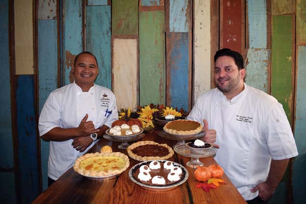 """Leoda's Kitchen & Pie Shop in tiny Olowalu will be """"dessert central"""" with sweet and savory pies baked by Executive Chef Alex Yago and Pastry Chef Curtis Horka (right). You may preorder now through Monday for pickup Wednesday or Thanksgiving Day. Leoda's photo"""