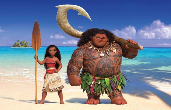"A spirited teenager named Moana (left) sails out on a daring mission to prove herself a master wayfinder. Along the way, she meets once-mighty demi-god Maui (right). Featuring Native Hawaiian newcomer Auli'i Cravalho as the voice of Moana and Dwayne Johnson as the voice of Maui, ""Moana"" opens Tuesday evening at Lahaina Wharf Cinema and Kaahumanu 6. Disney photo via AP"
