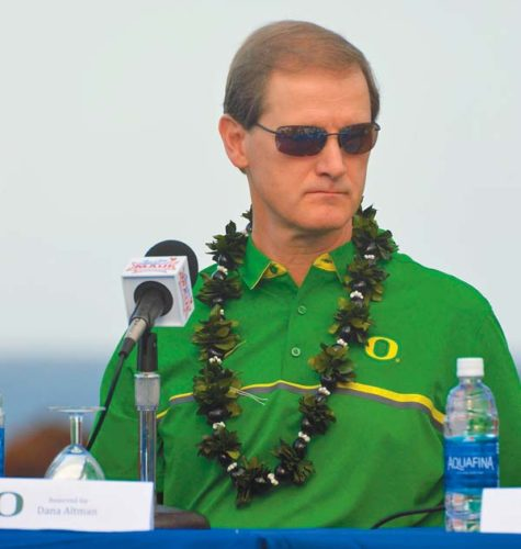 Oregon coach Dana Altman, shown during Sunday's Maui Jim Maui Invitational news conference at the Sheraton Maui Resort & Spa, hopes the Ducks improve on their 2-1 record this week. The Maui News / BRAD SHERMAN photo