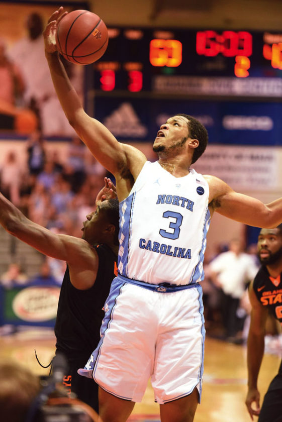 The Tar Heels' Kennedy Meeks goes up for a shot. The Maui News / MATTHEW THAYER photo