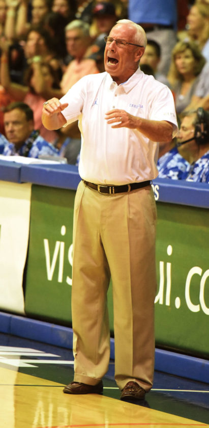North Carolina coach Roy Williams yells to his players during the second half. The Maui News / MATTHEW THAYER photo