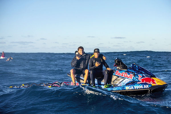 """Ian's brothers Shaun and D.K. Walsh keeping the crew safe (and catching waves) during """"Distance Between Dreams"""" filming. Zak Noyle for Red Bull Media House photo"""