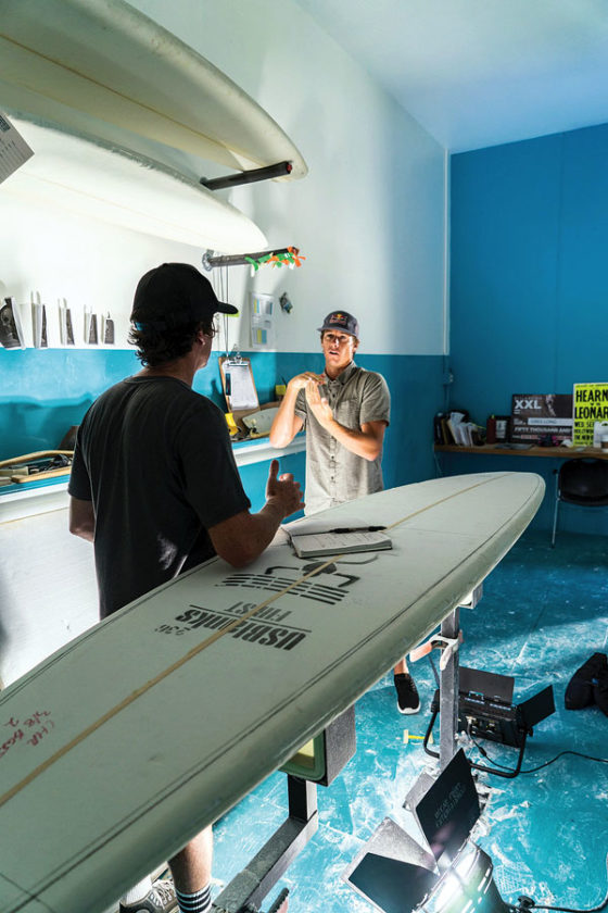 Ian Walsh fine tuning board designs with shaper Chris Christenson during the 2016 big wave season. Zak Noyle for Red Bull Media House photo
