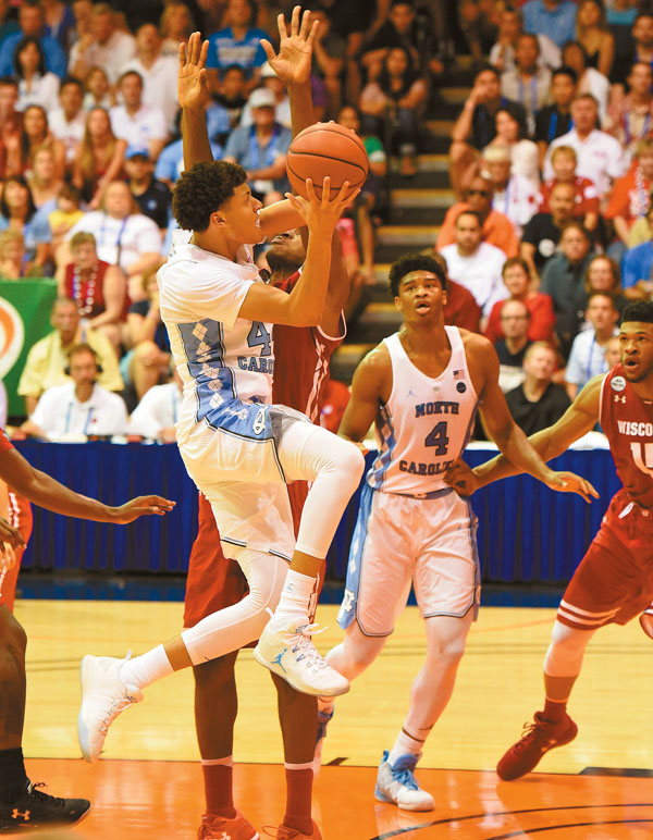 North Carolina's Justin Jackson goes up for a first-half shot. The Maui News / MATTHEW THAYER photo