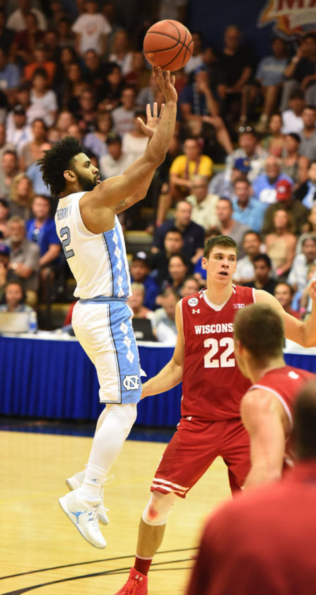 North Carolina's Joel Berry II puts up a shot during Wednesday's win over Wisconsin in the final. The Maui News / MATTHEW THAYER photo