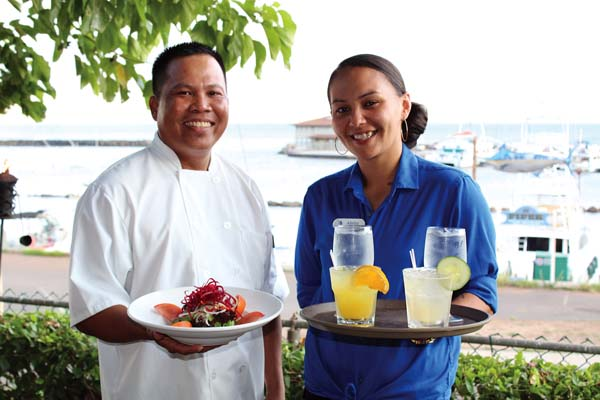 "James Beard Award nominee Chef Henry Tariga and server Alisha ""Bubbles"" Constantino will be onboard at Seascape Maalaea Restaurant for the special event tonight from 6 to 9 at Maalaea Harbor. The Maui News / CARLA TRACY photo"