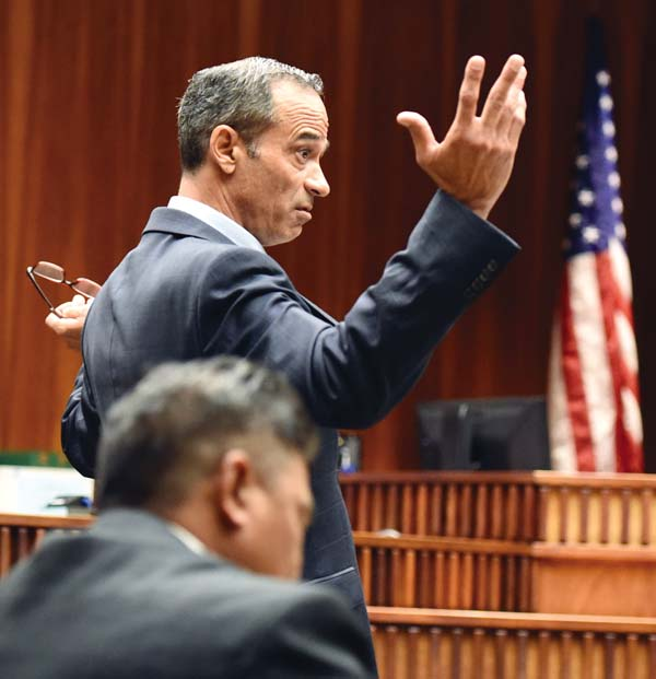 Defense attorney Jon Apo questions the veracity of the prosecution's case while making his closing arguments Wednesday. The prosecution will have the final say in rebuttal today. The Maui News / MATTHEW THAYER photo