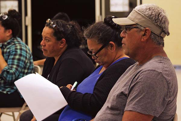 Residents listen to public testimony Monday night at the Department of Hawaiian Home Lands Maui District office in Wailuku. The proposed changes include genetic testing, agricultural lots and the sale of vacant lots and undivided interests. The Maui News / COLLEEN UECHI photo