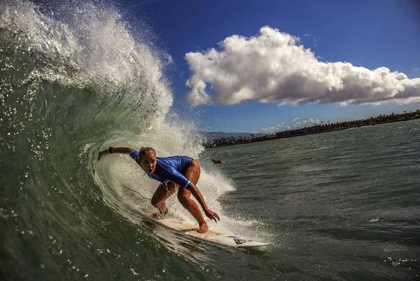 Summer Macedo and Kalaokahaku Willard head to open-division wins in Saturday's Hawaii Surfing Association contest at Kahului Harbor. 1morephotography.com photo