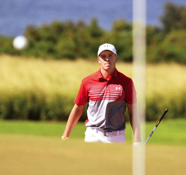 Jordan Spieth watches a shot.   The Maui News / MATTHEW THAYER photo