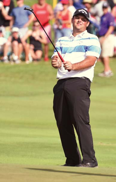 Patrick Reed reacts to a missed putt on the final hole.   The Maui News / MATTHEW THAYER photo