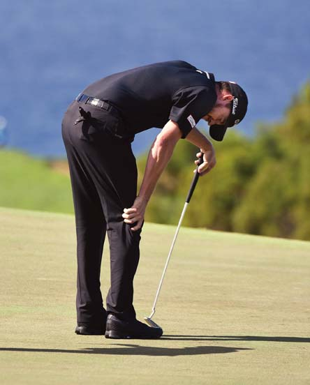 Jimmy Walker shows his disappointment with a miss on the 10th green.   The Maui News / MATTHEW THAYER photo