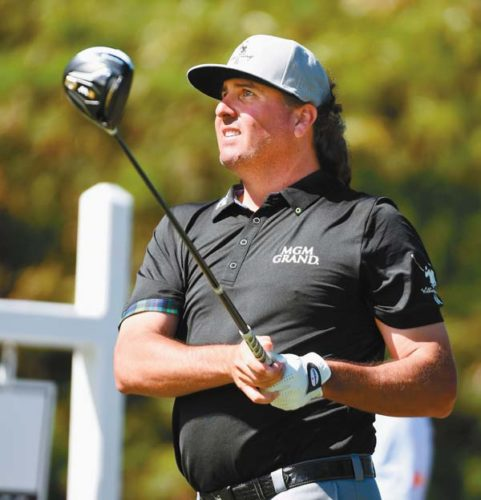 Pat Perez tees off on the 15th hole Sunday at the Kapalua Plantation Course during the final round of the SBS Tournament of Champions. The Maui News / MATTHEW THAYER photo