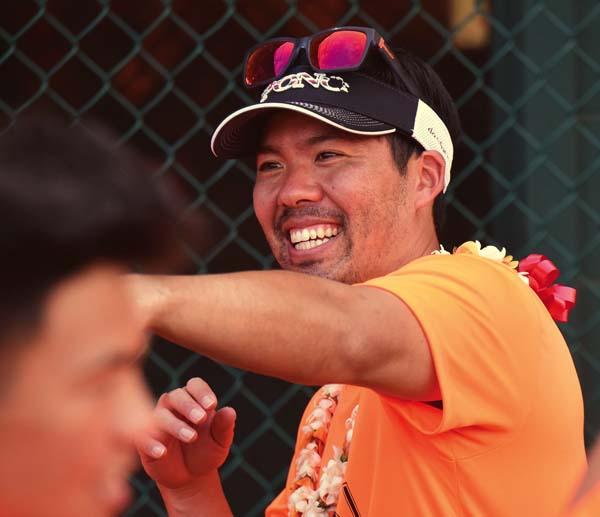 Kurt Suzuki, a 2001 graduate of Baldwin High School, smiles during his All Pono Clinic on Saturday at Maehara Stadium in Wailuku. The Maui News / MATTHEW THAYER photo