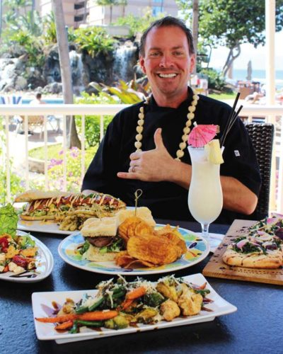 Craig Erickson wears a chef's jacket and also directs food and beverage for the title of CheF&B at Diamond Resort International's Ka'anapali Beach Club across from Honokowai Marketplace. The Maui News / CARLA TRACY photo