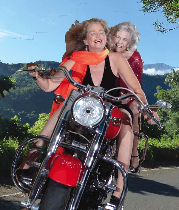 "Sharyn Stone rides along with Joyce Romero of ""Old Girls Looking Hot"" with music by Fulton Tashombe, to be performed at the Maui Fringe Festival this weekend; photo provided by Paul Janes-Brown, director."