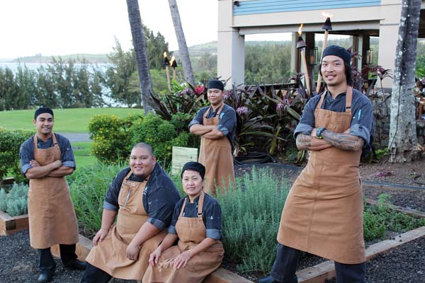 The Banyan Tree kitchen staff includes Brenner Duarozan (from left), Chef de Cuisine Alvin Savella, Virgie Cappal, RJ Tumpap and Kha Nguyen. Photos by Carla Tracy and The Ritz-Carlton, Kapalua