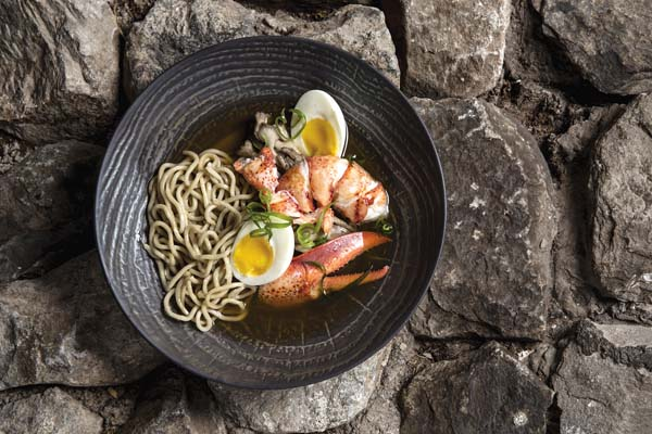 The chef's new dishes are Kona lobster ramen; Pacific oysters with uni and shiso; ahi tuna poke in sardine-like tins; and five-spice duck buns and Hokkaido seared scallops.
