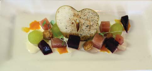 A recent Class Act salad was roasted beets, compressed apples, goat cheese coulis, candied macadamia nuts and carrot vinaigrette.  The Maui News  / CARLA TRACY photo