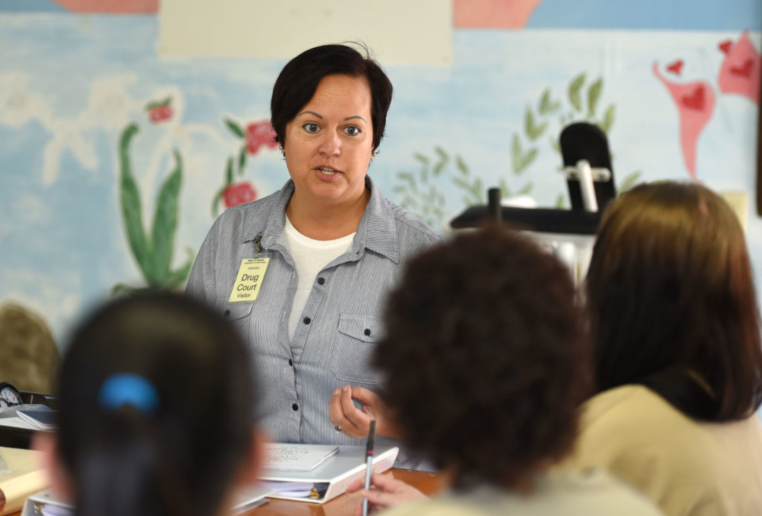 Drug Court counselor Nicha Stenberg-Johnson talks about the benefits of 12-step programs during an addiction lesson for female participants in the program Tuesday morning at Maui Community Correctional Center. The Maui News / MATTHEW THAYER photo