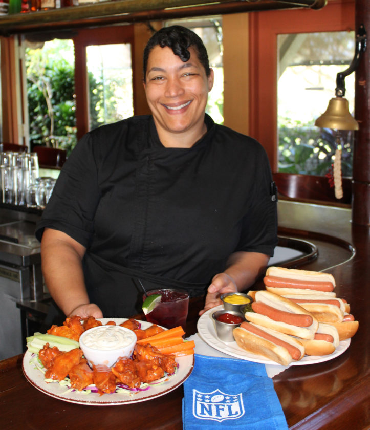 Stopwatch Sports Bar & Grill Chef Alyse Jenkins will kick off Super Bowl with half-time pupu from hot dogs to buffalo chicken wings. The Maui News / CARLA TRACY photo