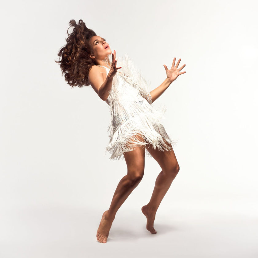 "Rosie Herrera of Rosie Herrera Dance Theatre perfoms today in ""Cookie's Kid,"" photo by Adam Reign."