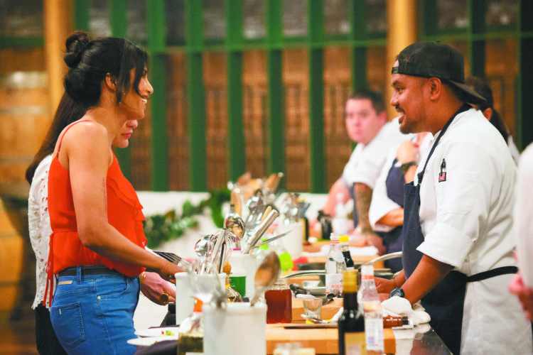 """Top Chef"" host Padma Lakshmi (left) faces Maui's own Sheldon Simeon on the set of Bravo channel's famous food show that will air tonight. Sheldon will be one of four remaining cheftestants. • ""Top Chef"" photo"