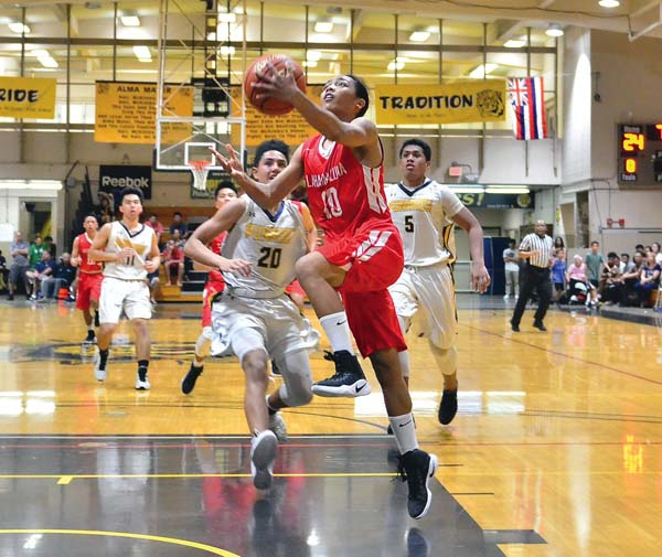 Reece Pascua of Lahainaluna High School goes up for a layup in front of Punahou's Kaulana Makaula during the Lunas' 54-47 loss Thursday. GLEN PASCUAL photo