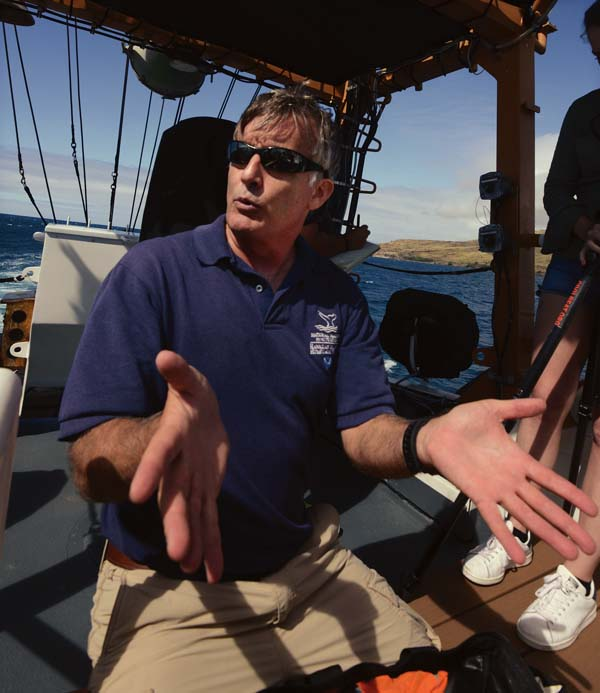 Ed Lyman, large whale entanglement response coordinator with the Hawaiian Islands Humpback Whale National Marine Sanctuary, discusses using 19th-century whale-hunting technology to free and save the mammals today.  The Maui News / MATTHEW THAYER photo