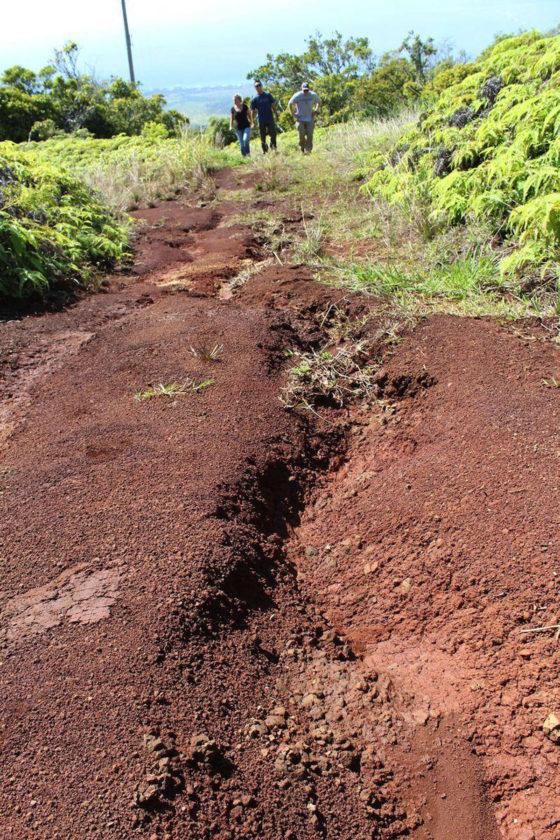 A recent University of Hawaii study finds that cooperation among landowners and prioritizing repair of eroding agriculture roads, such as the one pictured, is the most cost-effective solution to reducing sediment runoff to West Maui reefs. * Photo courtesy University of Hawaii