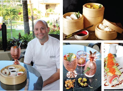 Photos clockwise from left:The resort's Executive Chef Craig Dryhurst is transporting Oahu's Chinatown to Maui with dim sum on Saturday nights in the Lobby Lounge. Sushi is also on a roll and the new Maui Gold vodka cocktail stays icy cold in fun copper glasses. •Four Seasons photo (top right) and Carla Tracy photos