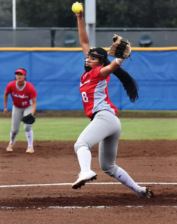 Lahainaluna High School's Taylor Asio delivers a pitch in the third inning of the Lunas' 2-0 victory over Maui High on Thursday. The Maui News / MATTHEW THAYER photo