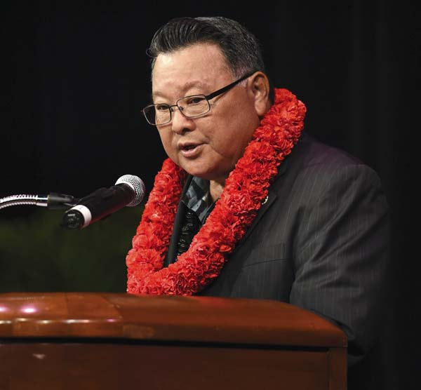Maui County Mayor Alan Arakawa delivers his State of the County address Thursday evening at the Maui Arts & Cultural Center's McCoy Studio Theater. The Maui News / MATTHEW THAYER photo