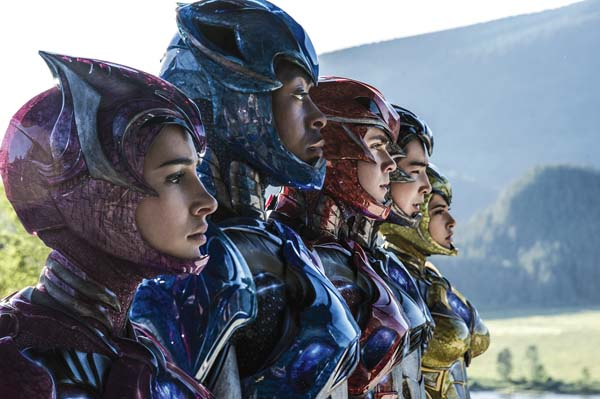 """Naomi Scott (from left), RJCyler, Dacre Montgomery, Ludi Lin and Becky G star in """"Power Rangers."""" Lionsgate photo via AP"""