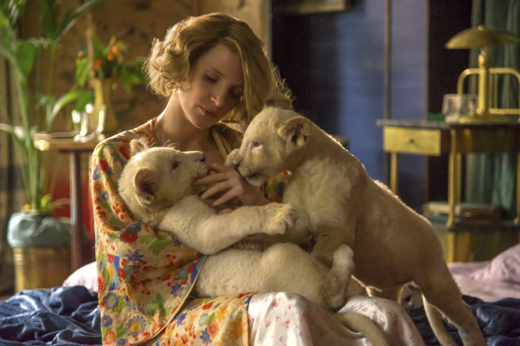 """Jessica Chastain stars in """"The Zookeeper's Wife"""" • Focus Features photo via AP"""