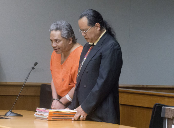 Peter Kema Sr. (left) pleads guilty to manslaughter and first-degree hindering prosecution in the death of his 6-year-old son on Wednesday in Hilo Circuit Court. Peter Kema Jr. went missing in 1997. • AP photo